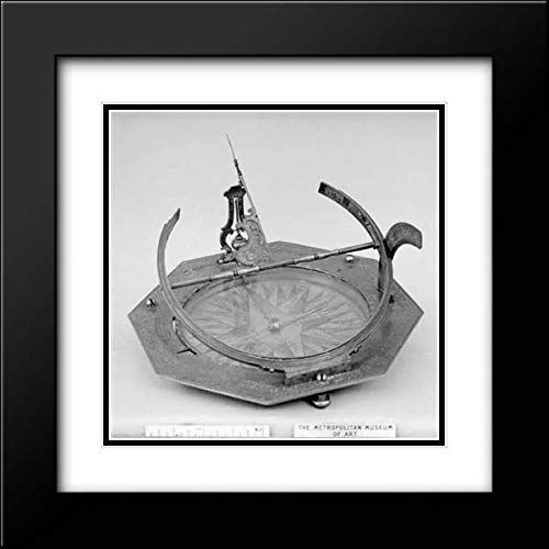Ludewig - 28x28 Black Modern Frame and Double Matted Museum Art Print - Portable Equatorial Sundial