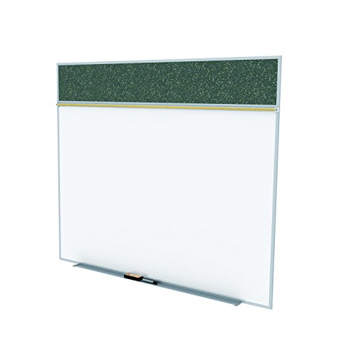 Ghent 5 x 12 Feet Combination Board, Porcelain Magnetic Whiteboard and Recycled Rubber Bulletin Board, Confetti , Made in the USA by Ghent