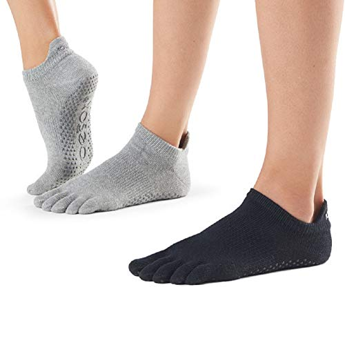 toesox Yoga Socks - Low Rise Full Toe 2 Pack, Heather Grey & Black, MD from toesox