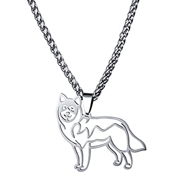 Amazon Com Stainless Steel Alaskan Malamute Siberian Husky Outline