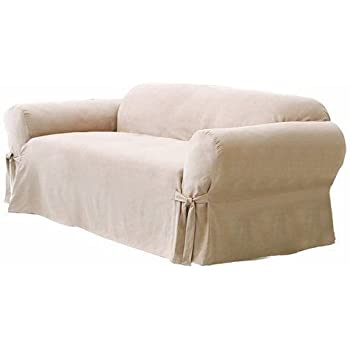 Green Living Group Chezmoi Collection Soft Micro Suede Couch/Sofa Cover  Slipcover With Elastic Band Under Seat Cushion, Sand