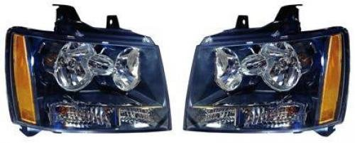 Go-Parts PAIR/SET OE Replacement for 2008-2013 Chevrolet (Chevy) Tahoe Hybrid Front Headlights Headlamps Assemblies Front Housing/Lens / Cover - Left & Right (Driver & Passenger) for Che
