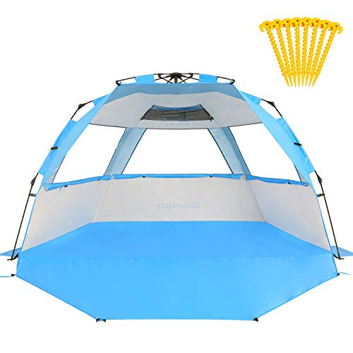 (Gorich Beach Tent Super Beach Umbrella Outdoor Sun Shelter Cabana Automatic Pop Up UPF 50+ Sun Shade Portable Camping Fishing Hiking Canopy Easy Setup Patent Pending 2 or 3 Person )