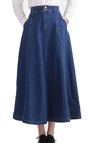 Girls Denim Skirt Long (Gihuo Women's Vintage High Waist A-Line Swing Denim Long Skirt (Dark Blue, Medium))