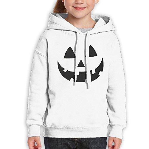 Youth Jack O Lantern - Smiling Pumpkin Face - Easy Halloween Costume Fun Climbing Shirt Pullover Hood Medium