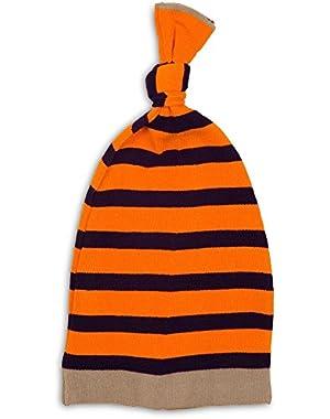 Loose Striped Baby Hat, 0-12 Month, Orange/Navy/Brown