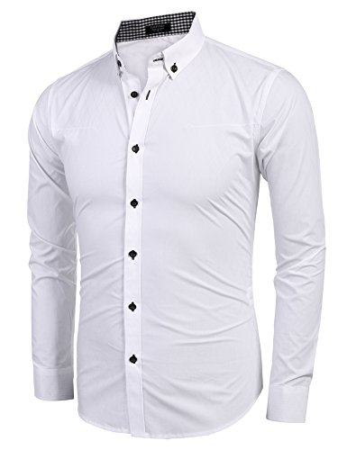 COOFANDY Men's Business Stylish Slim Fit Long Sleeve Casual Dress Shirt (L, White) by COOFANDY (Image #2)