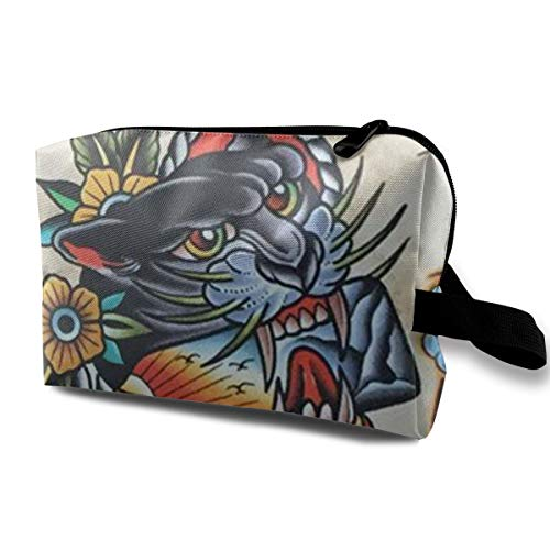 (Premium Make up Bag Clutch Bag Carrying Case, Tattoo Print Tiger Multipurpose Travel Makeup Train Case Holder Portable Gift for Women Ladies, Cosmetics Pen Bag Pouch)