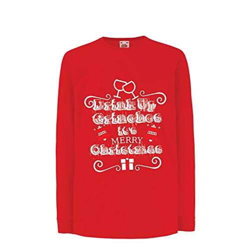 (lepni.me Kids T-Shirt Drink Up Grinches - It's Merry Christmas (3-4 Years Red Multi)