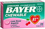 (4 Pack) Bayer Chewable Low Dose Aspirin Cherry- Value Pack, 36-Count Chewable Tablets