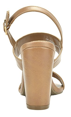 Open Pump Chunky Mid TOETOS Women's Heel Stella Nude Sandals Toe pu 0FxxHEq