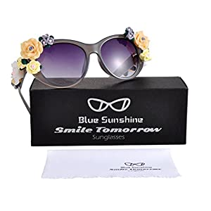 Sunglasses for Women Oversized Cat Eye Glasses Flowers Sunglasses Beach On Vaction UV400 Protection(Grey)