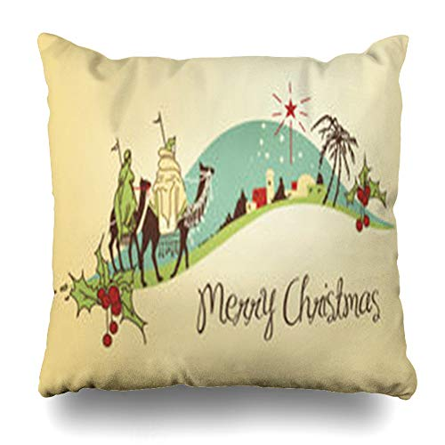 Decor Champ Throw Pillow Covers Classic Jesus Nativity Christmas Holidays Manger Christ Camel Vintage Birth Greetings Home Decor Sofa Pillowcase Square Size 18 x 18 Inches Cushion Case