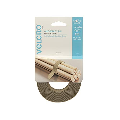 VELCRO Brand - ONE-WRAP Roll, Double-Sided, Self Gripping Multi-Purpose Hook and Loop Tape, Reusable, 12 x 3/4 Roll - Tan