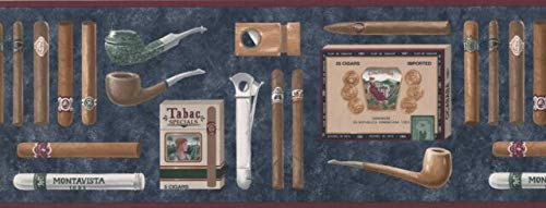 Wallpaper Border Vintage Cigars Pipes Cutters 9