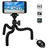 VIUME Phone Tripod, Portable and Flexible Camera Stand Holder with Wireless Remote and Universal Clip for Phone, Camera, Sports Camera GoPro (Black)