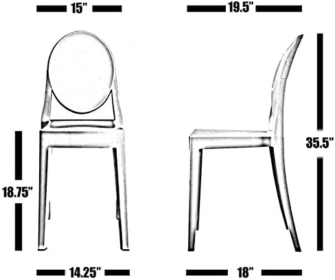 Nicer Furniture Set of 2 Philippe Starck Louis XVI Ghost Side Chair Without Arms-Modern Victoria Dining Chair Polycarbonate Plastic in Clear Transparent Crystal
