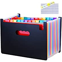 Large Capacity 24 Pockets Expanding File Folder with Index Tabs by Uni Collection, Bonus Preprinted Tab Inserts and Adhesive Blank Labels Included, Letter Size/A4, Multicolored