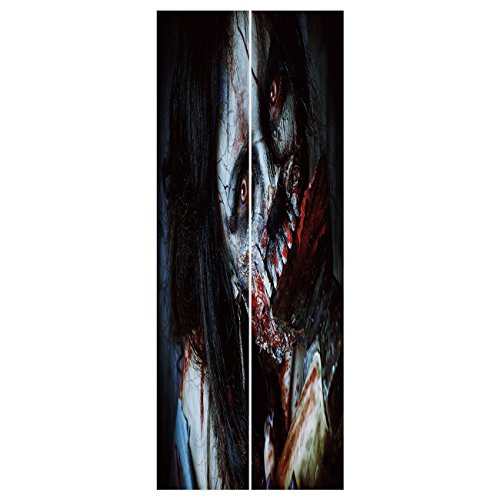 3d Door Wall Mural Wallpaper Stickers [ Zombie Decor,Scary Dead Woman with Bloody Axe Evil Fantasy Gothic Mystery Halloween Picture,Multicolor ] Mural Door Wall Stickers Wallpaper Mural DIY Home Decor ()