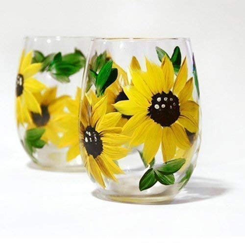 (Hand Painted Sunflower Wine Glass Set of 4, Artisan Painted, Stemless Wine Glasses, 11oz)