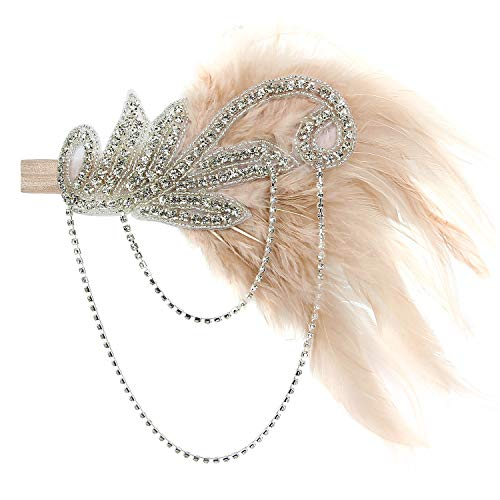 Acecharming 1920s Flapper Great Gatsby Feather Wedding Bridal Tiara Pearl Headpiece Headband (Champagne)]()