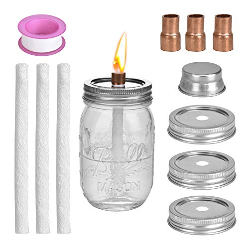 - LinkBro Mason Jar Tiki Torch Kits,Includes 3 Long Life Torch Wicks,3 Mason jar Lids,3 x Copper Coupling Reducer,Teflon and Cap,Just add Mason Jars & Fuel for Outdoor Lighting