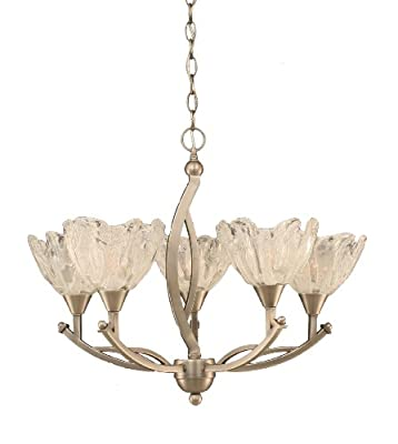 Toltec Lighting 275-BN-759 Bow Five-Light Uplight Chandelier Brushed Nickel Finish with Italian Ice Glass Shade, 7-Inch