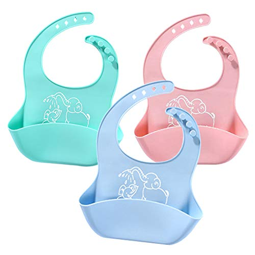 Soft Silicone Bib Waterproof Bib Keep Stains Off! Easy Clean BPA Free-Toddlers With Food Catcher Pocket (3pack)