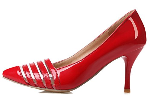 Aisun Damen Sexy Lack Kunstleder Transparent Streifen Low Top Stiletto Pumps Rot