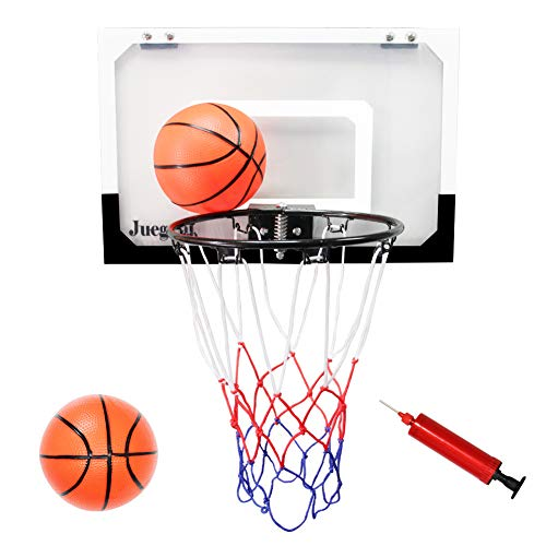 Juegoal Mini Basketball Hoop for Slam Dunk with 2 Balls and 1 Inflator, 18″ x 12″ Shatterproof Backboard Ball Game for Home and Office Door – DiZiSports Store