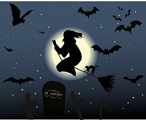 Gifts Delight Laminated 29x24 inches Poster: Halloween The Witch Hexenbesen Cat Moon Star Magic Night Broom Occultism Secret Weird Scene Surreal Atmosphere Still Sky Rest Grave Cross Cemetery -