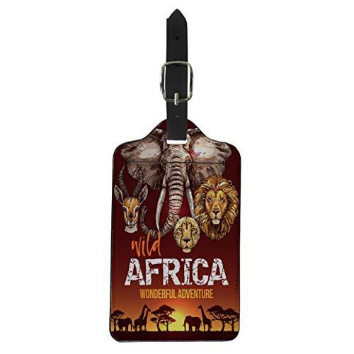 (Pinbeam Luggage Tag African Safari Wild Animals Elephant Giraffe Lion Leopard Suitcase Baggage)