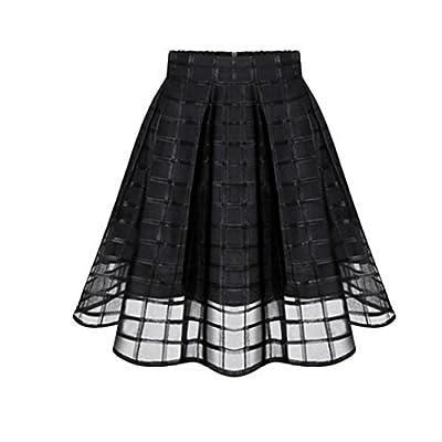 TOPUNDER Organza Skirts High Waist Zipper Ladies Tulle Skirt for Women
