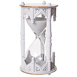 Red Co. Vintage Desktop White Sand Hourglass, Decorative Table Top Metal Sandglass Clock, 10 Minute Timer, Aged White Finish