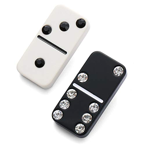 DELIANNA STYLES 2 Pack Black & White Crystal Brooch, Vintage Cute Scarves Buckle Pins Clips ()