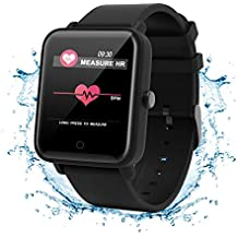 Fitness Tracker Watch, Color Screen Activity Tracker Watch with Heart Rate Monitor IP67 Waterproof Smart Wristband with Blood Pressure Monitor Sleep Monitor Pedometer for Kids Women Men (C9 Black)