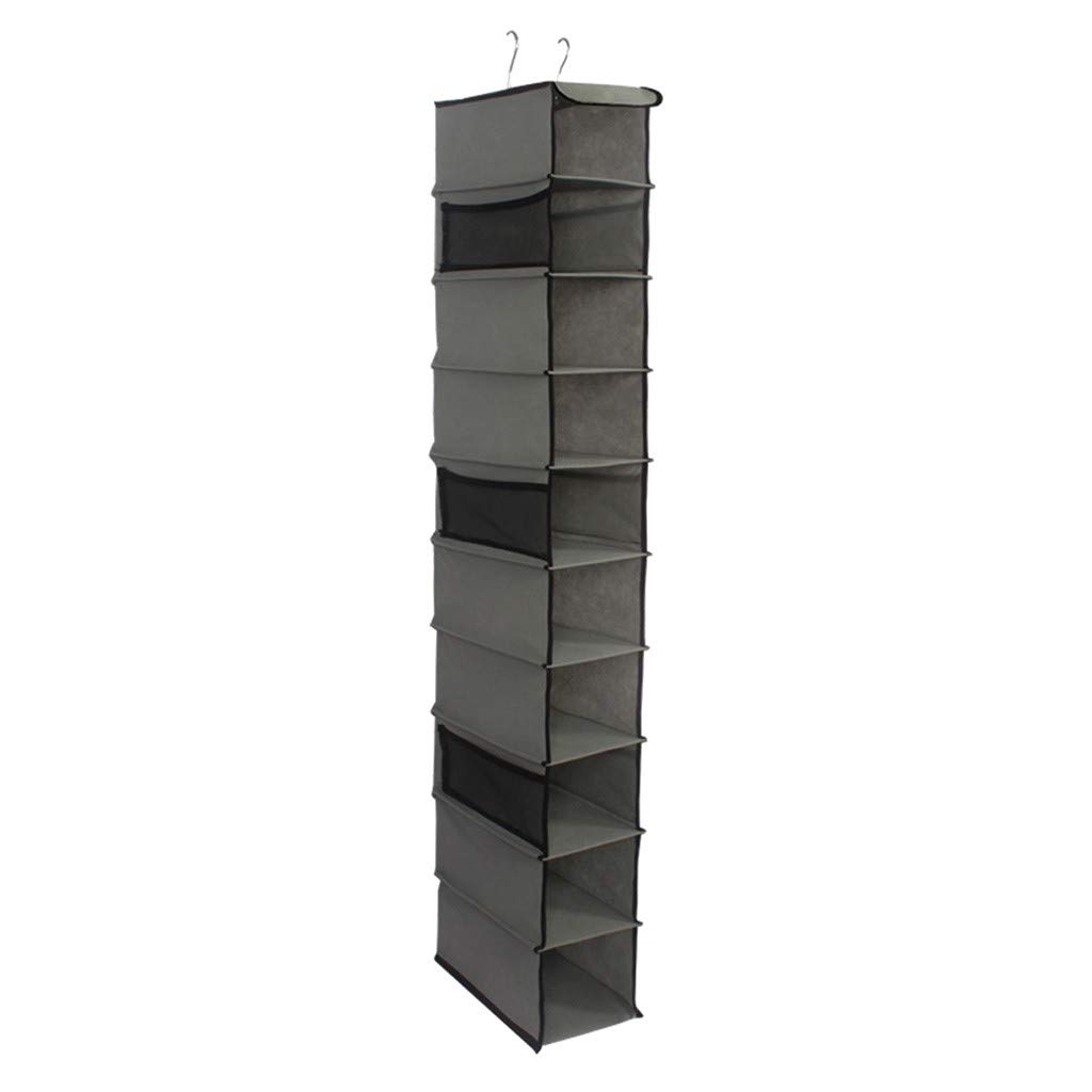 Gunel 10-Shelf Hanging Shoe Organizer, Shoe Holder for Closet - Mesh Pockets for Accessories - Breathable Polypropylene (Gray) by Gunel home