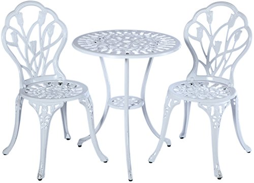 (Alfresco Home 55-8663-WH Tulipano Round Bistro Table and Chair Set, White)