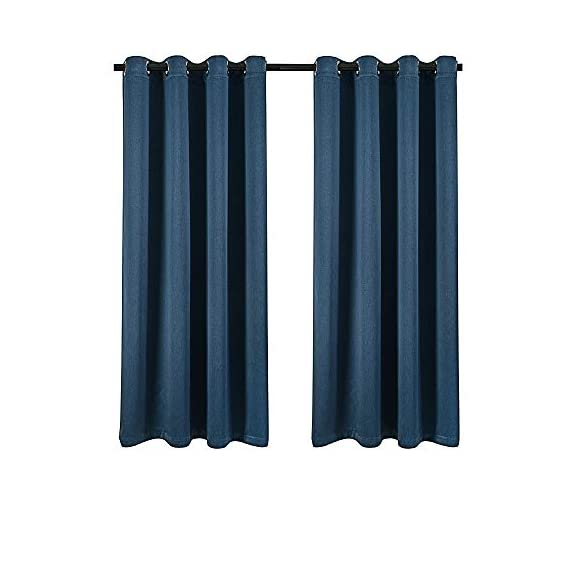 LAMBARY Grommet Blackout Curtains 2 Panels Set for Bedroom Thermal Insulated Window Draperies Room Darkening Drapes for Living Room 63 Inches Long Blue - Super thick fabric: can impede 95%-99% of sunlight, reduces outside noise, and ensures total privacy, creates a real night experience without getting lost in the dark, more suitable for living room and bedroom. Draperies constructed with a new design fabric named GOLF. It's a high quality, luxury and drapability, balancing room temperature by insulating against summer HEAT and winter CHILL meanwhile protect PRIVACY. No chemical coating, no formaldehyde, ECO-friendly, bring harmonious to your family. Blackout curtains set with 2 panels, each panel 52 inches width and 63 inches length, matching the standard living room/bedroom's windows. - living-room-soft-furnishings, living-room, draperies-curtains-shades - 41EFmgnA27L. SS570  -