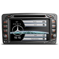 XTRONS 7 Inch Car Stereo Radio HD Digital Touch Screen DVD Player GPS Screen Mirroring Dual CANbus for Mercedes-Benz C-W203 Kudos Map Card Included