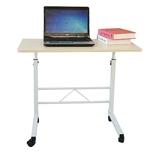 Boylymia Overbed Table with Wheels Chipboard & Steel Side Table for Home, Hospital,Laptop, and Breakfast Use