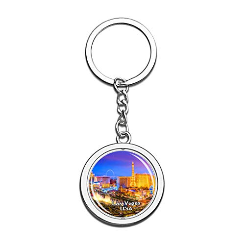 USA United States Keychain Fountains of Bellagio Las Vegas Key Chain 3D Crystal Spinning Round Stainless Steel Keychains Travel City Souvenirs Key Chain Ring -
