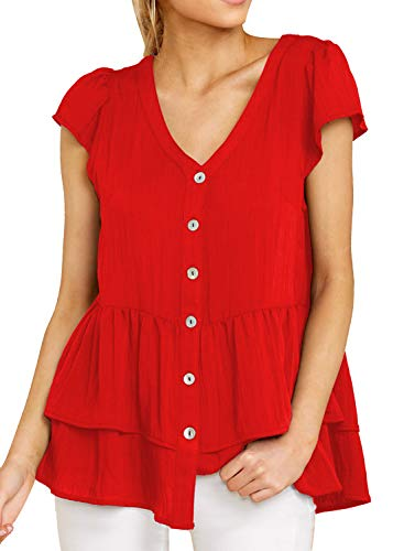 DOROSE Women's Shirts Casual Blouse Short Sleeve Ruffle Button Down Tunic Tops Solid Color Fit Flare(Large, ()