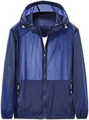 Dawwoti Women Men Loose Sunblock Jacket Gradient Hoodie Athletic Shirt Ribbed Cuff with Zipper