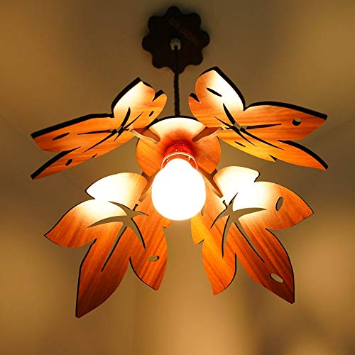 US DZIRE – THE BRAND OF LIFESTYLE 15-Watts B22 Hanging Lamp Electric Antique Natural Wood Ceiling Light (Beige)