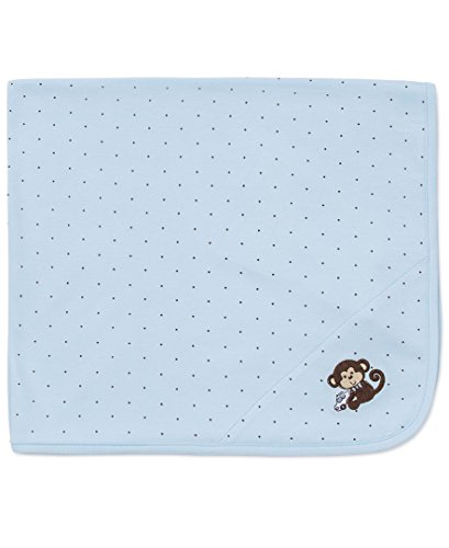 Little Me Baby-Boys Newborn Monkey Star Blanket, Light Blue, One Size (Monkey Newborn Blankets)