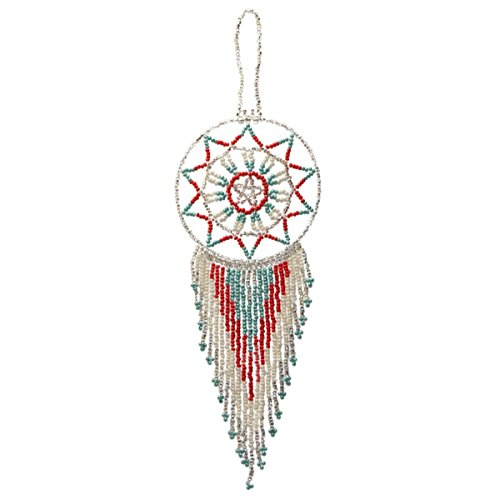Native American Tree Ornaments (Seed Beads Traditional Handmade Dream Catcher Feathers Tassels,for-home,Office,Car,Handbag,Tote Bag,Pendant,Charm Gift,Hanging Ornament,keychain for that different look (Silver-White-Green))