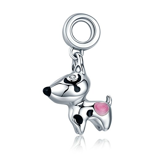 Everbling Cute Puppy I Love Dog Pet Lover25 Sterling Silver Bead Fits European Charm Bracelet (Pink - Pet Charm Pink