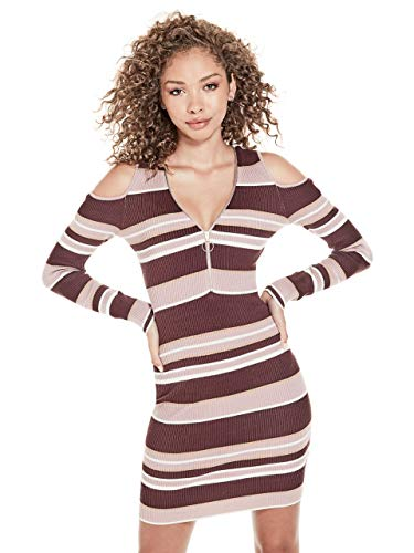 G by GUESS Women's Farren Cold-Shoulder Front-Zip Long Sleeve Striped Sweater Dress from G by GUESS