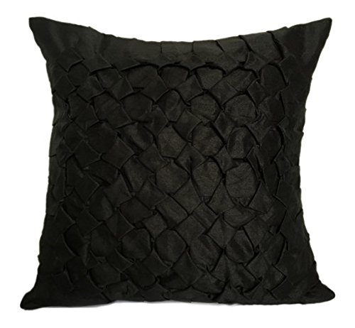 (The White Petals Set of 2 Black Textured Euro Sham Covers with Smocking Details Black European Sham Covers in Solid Color (26x26 inches, Black, Set of 2 Pillow Covers))